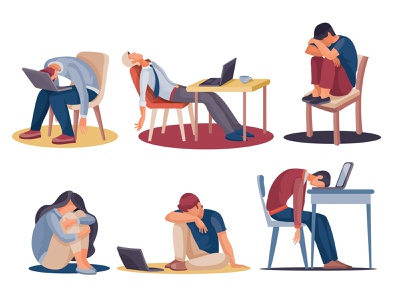 Tired People set people business flat character concept illustrator art illustration vector