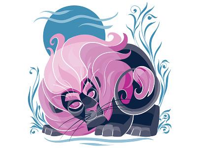 Leo animal flat character concept illustrator design art illustration vector