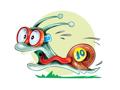Speed snail art cartoon character concept illustrator illustration vector