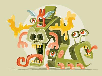 Symbiosis character design cartoon monster concept character illustrator design art illustration vector