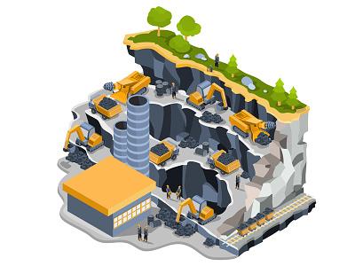 Coal Mining design art car isometric vector illustration technology. business people infographics miner coal mine coal mining