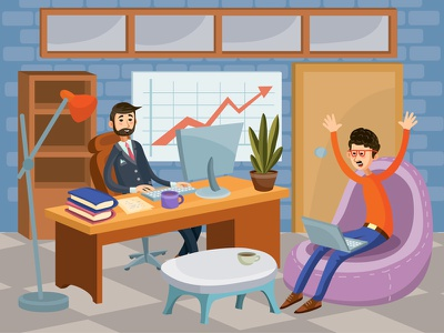 Business Office character flat design art vector illustration office business meeting boss work manager