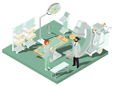 Operating Room illustrator infographics isometric design art vector illustration medical equipment surgery treatment health doctor clinic medicine