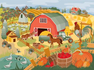 Farm In Autumn illustrator design art vector illustration harvest season vegetables pumpkin autumn farm
