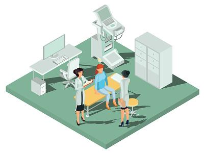 Clinic character concept illustrator isometric infographics design art vector illustration diagnosis treatment dispensary clinic doctor health medicine medical examination hospital