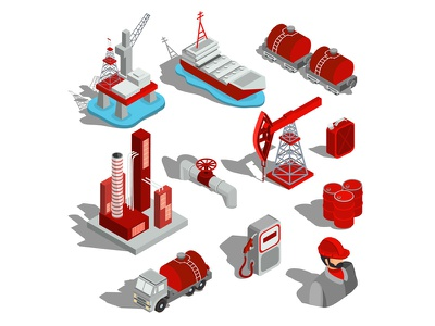 Icons Oil Industry set concept business car isometric infographics illustrator design art vector illustration process gasoline refining oil production transportation fuel oil oil industry icons