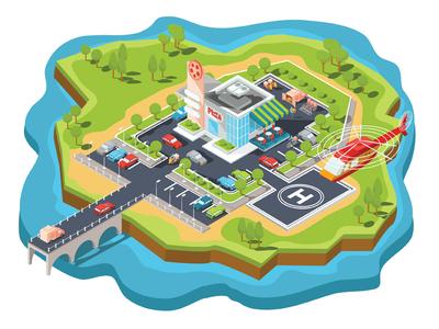 Pizzeria On The Island. concept business car isometric infographics illustrator design art vector illustration island map plan parking cafe pizzeria