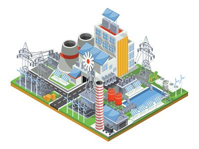 Powerhouse business concept isometric infographics illustrator art design vector illustration energy production electricity battery power plant