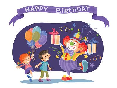 Happy Birthday flat character illustrator art design vector illustration party clown kids holiday birthday