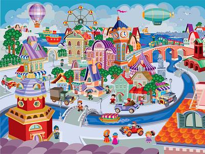 City View flat character illustrator art design vector illustration town buildings cars people cartoon panorama city