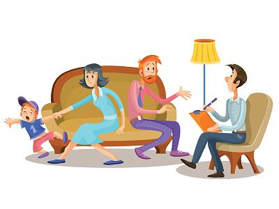 Family Psychologist flat character business concept illustrator art design vector illustration client psychologist relationship child people psychology family