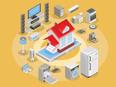 Smart House set business isometric infographics concept illustrator art design vector illustration home appliances virtuality communication management home