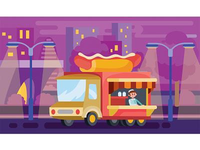 Fast Food Truck Hot Dog people city car flat character business infographics concept illustrator design art vector illustration