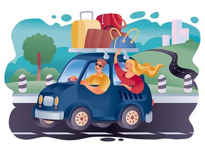 Tourists people car flat character concept illustrator design art vector illustration