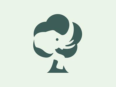 Minimalist Elephant Tree Care Logo emblem identity tree behance brand negative space elephant graphic design logotype ong ngo branding logo