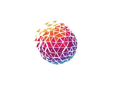 Pixel Media Logo Template geometric abstract ball pixel logo media