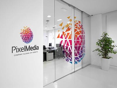 PixelMedia Logo Branding low poly polyart gradient geometric art graphic happy media mockup design mockup office graphic design geometric design logo design creative abstract branding brand logotype logo