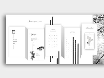 Horizontal site design typography layout perspective portfolio website white black bnw ux ui