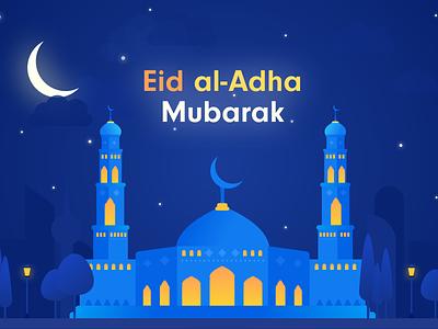 Eid al-Adha Mubarak vector congratulation illustration cityscape mubarak eid islam mosque