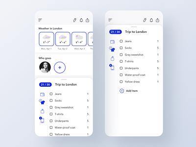 Packing App notifications share app design application ui invite rich blue blue light ux london packing list list pack app interface app concept ui design ios application app ui