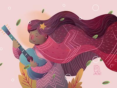 Cantora musician music naif charactedesign comic kids. editorial sketch doodle illustration