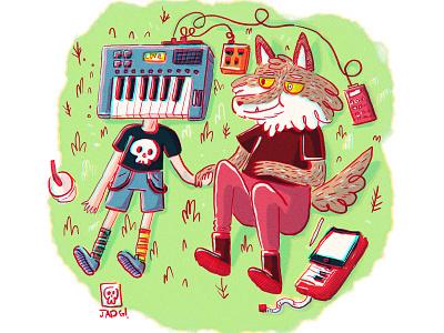 Love machine illustration love boys wolf music synthe piano keyboard
