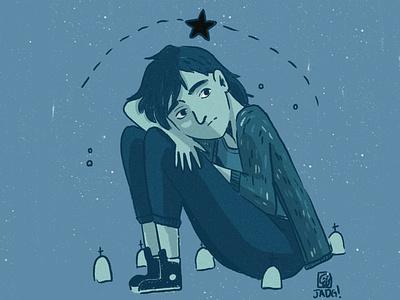 Black star doodle charactedesign sketch azul young art draw illustration star graveyard blue boy
