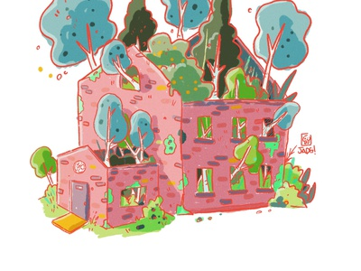 Pink box naif illustration comic kids. editorial old forest woods trees house