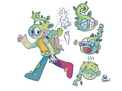 Plant boy comic naif fairy boy green charactedesign kids. editorial doodle illustration farmer