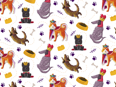 The Royal Family Patterns akita queen king dogs patterns