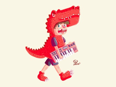 the Devil Dinosaur design boy charactedesign naif art sketch kids. editorial doodle comic illustration red dinosaur