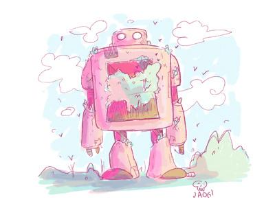 Robot charactedesign kids. editorial sketch doodle illustration nature pink robot