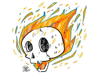 flame fire skull comic sketch doodle illustration