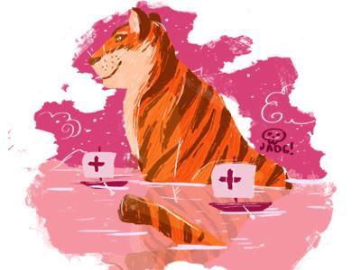 Big Cat tiger pink art naif charactedesign kids. editorial sketch comic illustration doodle