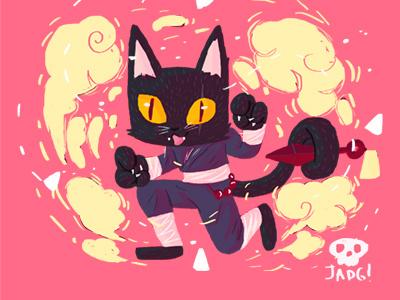 Ninga Cat ninja cat naif charactedesign kids. editorial sketch comic illustration doodle