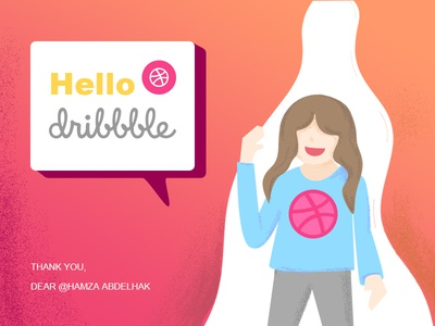 Hello Dribbble illustration dribbble hello shots first debut