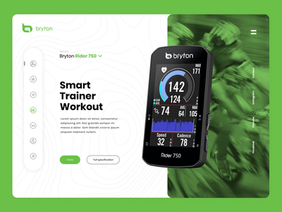 Bryton landing page - Rider GPS Cycling Computer clean minimalistic side menu ride sports training workout bicycles bike green xiaomi garmin landingpage website cycling design web design interactive vision intervi ui  ux