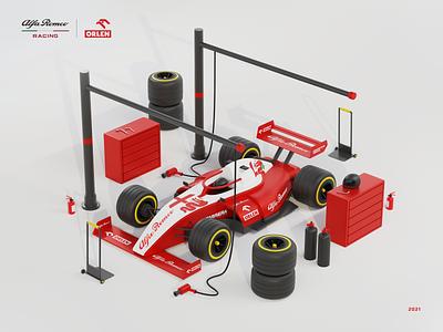 Alfa Romeo Racing F1 Orlen 3d Illustration robert kubica red illustration 3d b3d blender3d formula one f1 racing speed interactive vision intervi