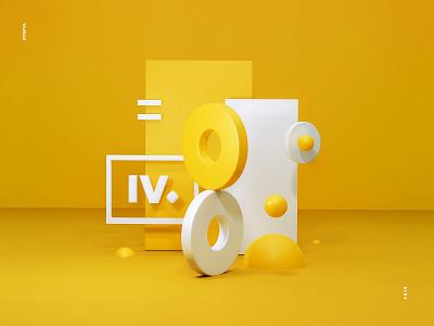 Intervi - 3d geometric illustration yellow blue render design branding 3d art illustration b3d 3d interactivevision intervi