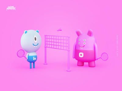 Dribble monster babinkton social play linkedin instagram rebranding monsters redesign blender3d brand heroes intervi 3d art illustration 3d branding