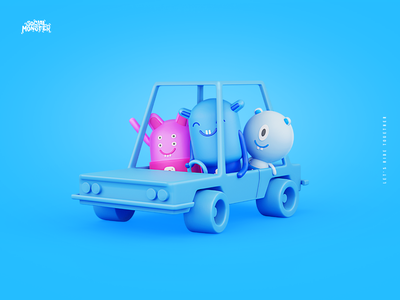 Social Monster Agency Rebranding + Brand heroes illustraion b3d ui ride car lowpoly blender3d 3d redesigne linkedin instagram facebook interactivevision intervi rebranding brandheros monsters socialmonster