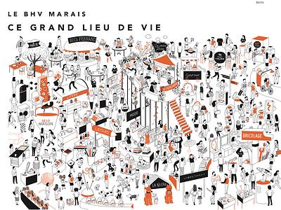 BHV Paris Marais people character map paris shop editorial illustration