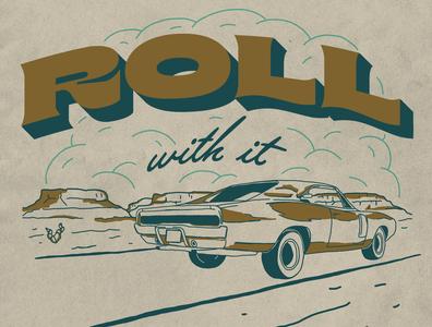 Just Roll With It desert car vintage car western illustration denver colorado illustration art