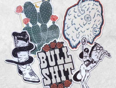 New Stickers! illustration for sale sticker western illustration art