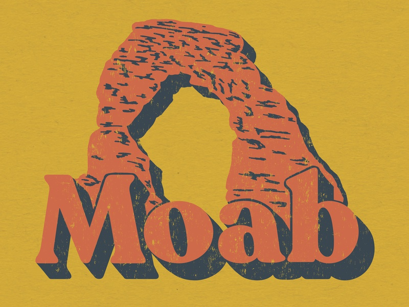Moab typogaphy rock formation utah moab lettering america design illustration western denver colorado illustration art