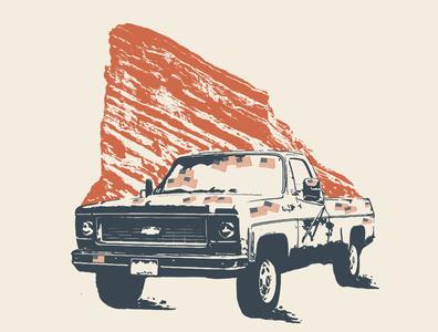 John Prine @ Red Rocks red rocks american flag flag truck chevy john prine country music austin texas nashville music art western illustration denver colorado illustration art