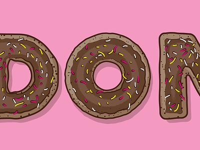 Donut food typography lettering illustration donut vector