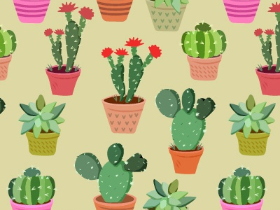 fun illustration pattern with cactus on pot element