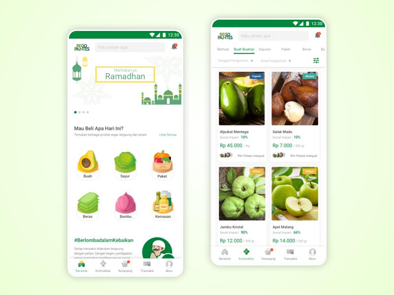 RegoPantes (Ramadhan Version) fresh agricultural fruit flat design mobile apps app mobile ux ui ramadhan regopantes market shop ecommerce vegetable fruits fruits and vegetables online