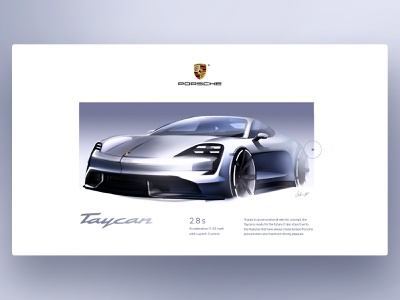 Porsche Taycan car design digital illustration digital painting concept website design mobility car automotive website taycan